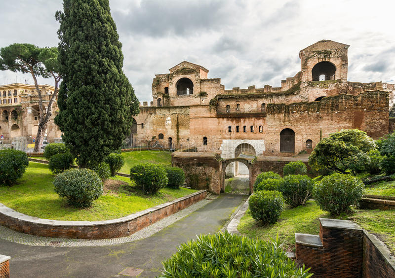 Porta Asinaria and guard Towers on the Rome walls royalty free stock image