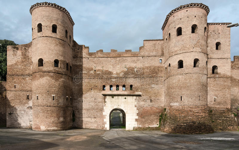 Porta Asinaria and guard Towers on the Rome walls stock images