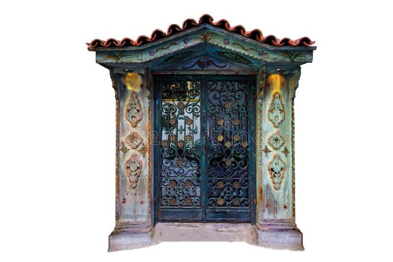 Porta autentica isolata, porta materiale di legno Progettazione medievale della porta immagini stock libere da diritti
