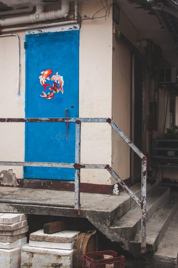 Porta azul com os peixes que pintam perto das escadas imagem de stock royalty free