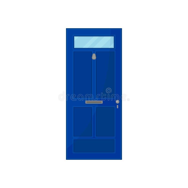Porta azul com vidro no fundo branco ilustração stock