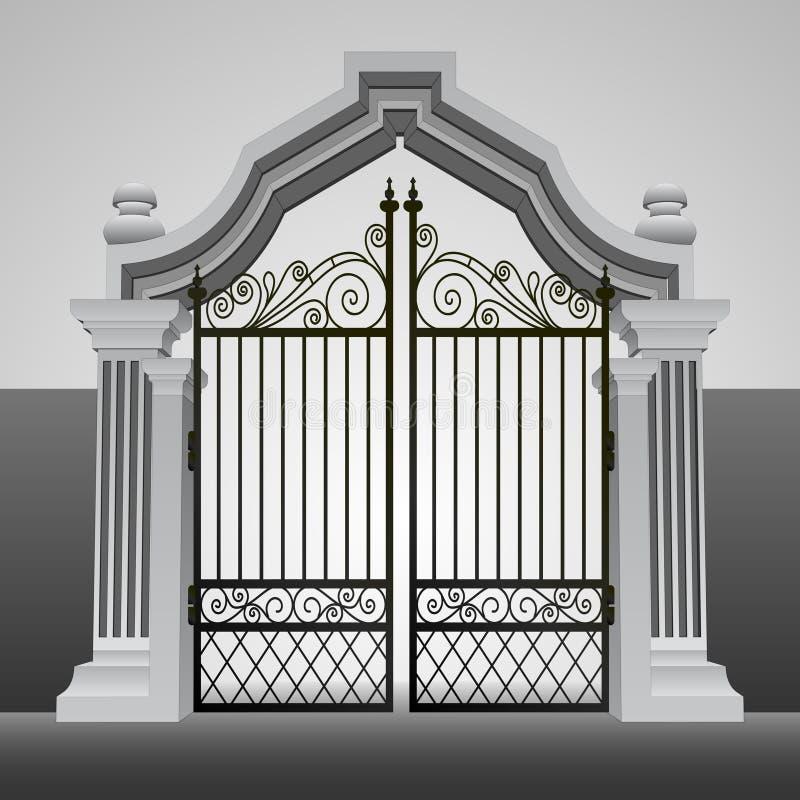 Porta barroco da entrada com vetor da cerca do ferro ilustração royalty free