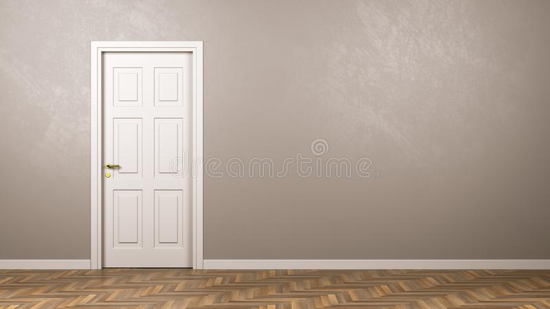 Porta bianca chiusa nella stanza con Copyspace royalty illustrazione gratis