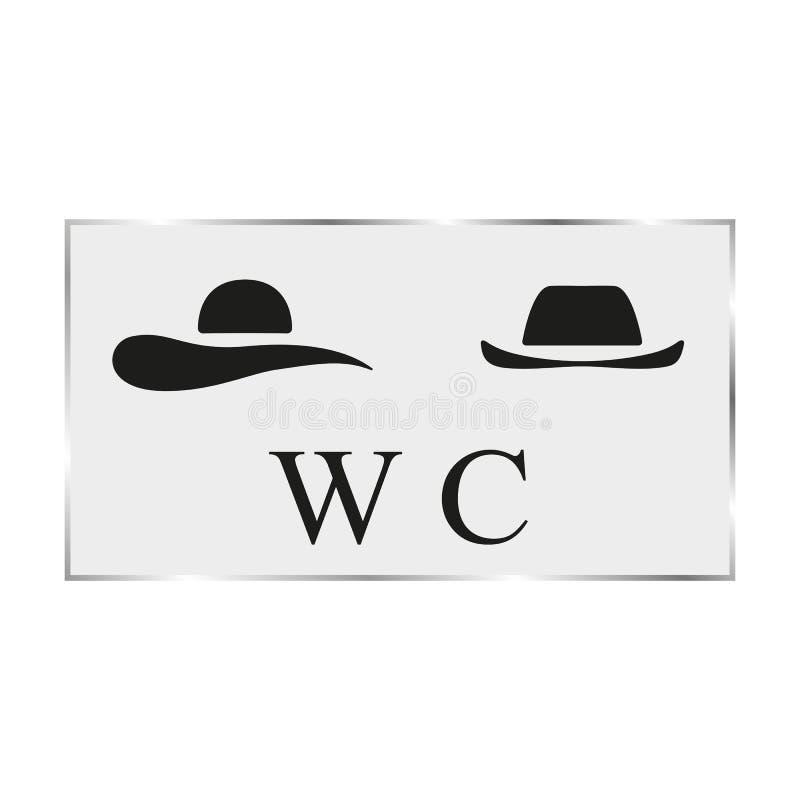 Porta bianca della toilette del piatto del nero dell'illustrazione di vettore illustrazione di stock