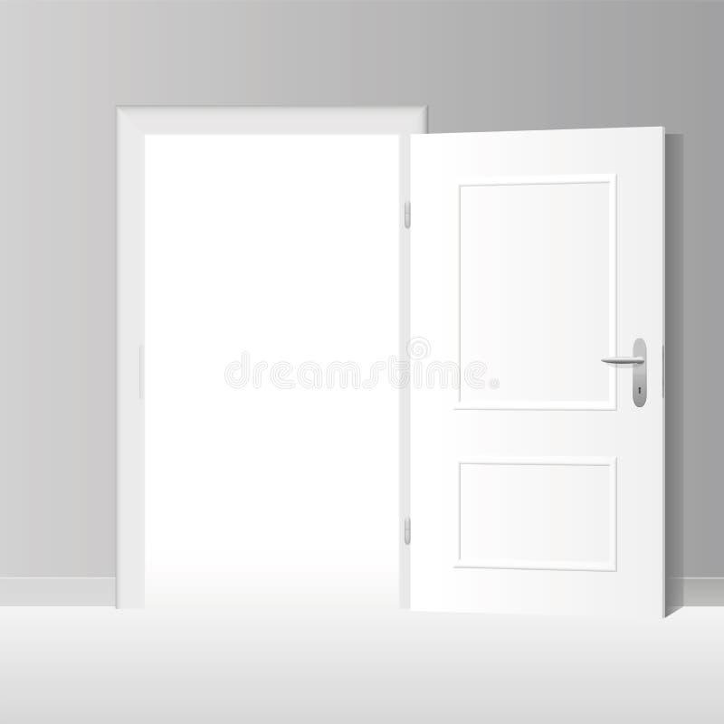 Porta branca largamente aberta ilustração royalty free
