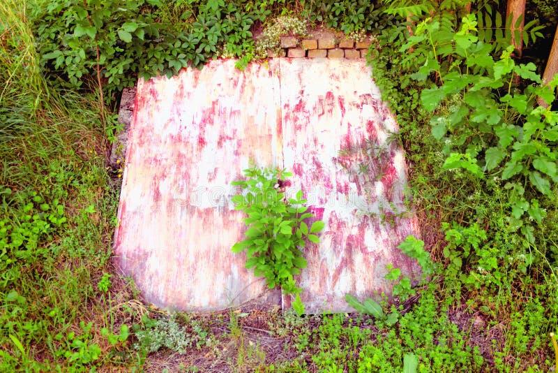 Porta branca natureza coberta do whit imagem de stock royalty free