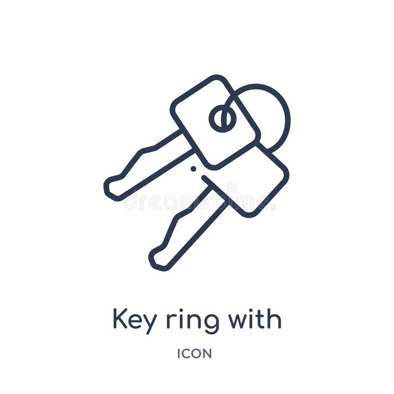 porta-chaves com ícone de duas chaves da coleção do esboço das ferramentas e dos utensílios Linha fina porta-chaves com o ícone d ilustração royalty free