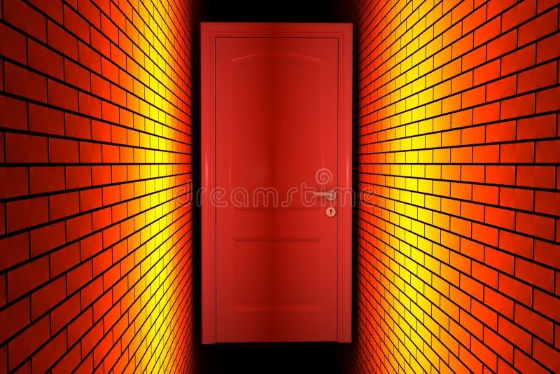 A porta chiusa con le pareti accese royalty illustrazione gratis