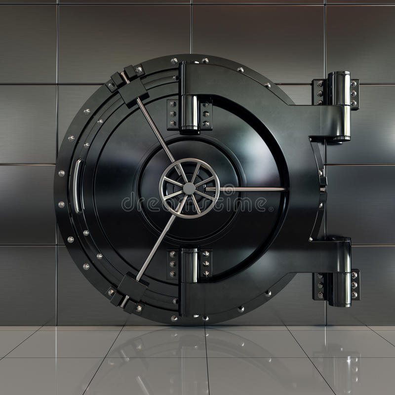 Porta chiusa della volta di banca di vista frontale illustrazione vettoriale