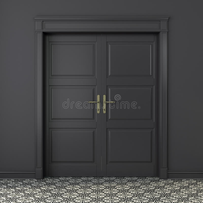 Porta classica in un interno grigio royalty illustrazione gratis