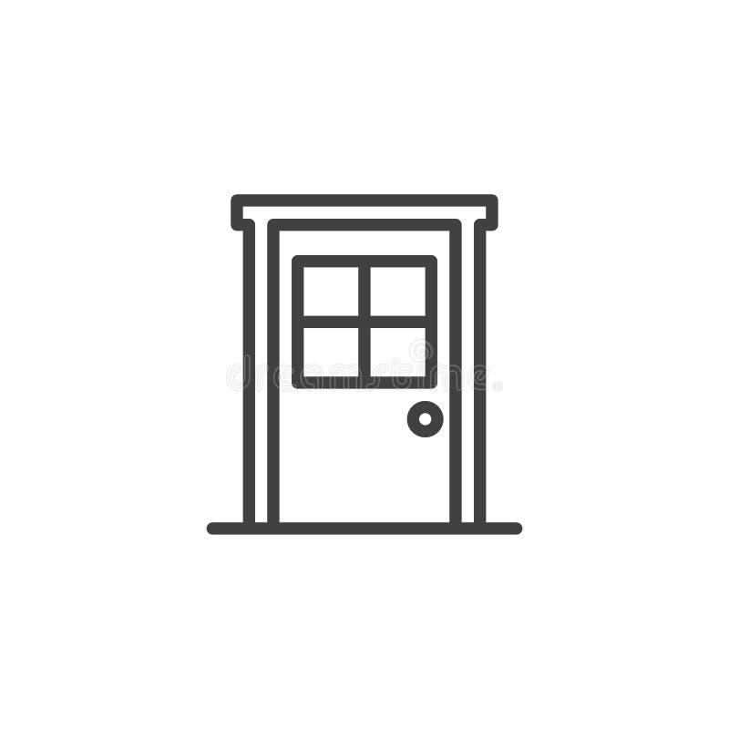 Porta com ícone do esboço da janela ilustração royalty free