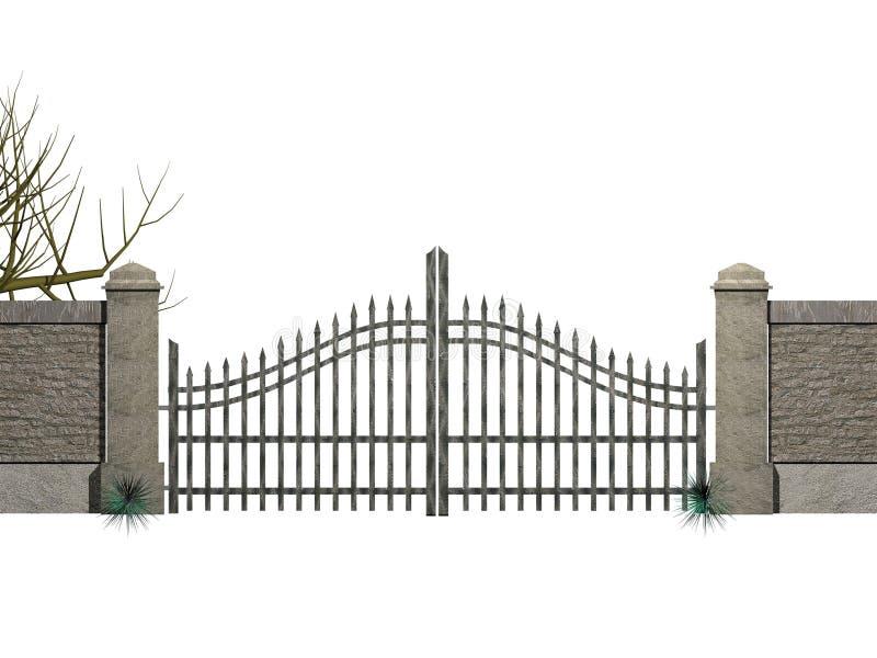 Porta com arbustos ilustração royalty free