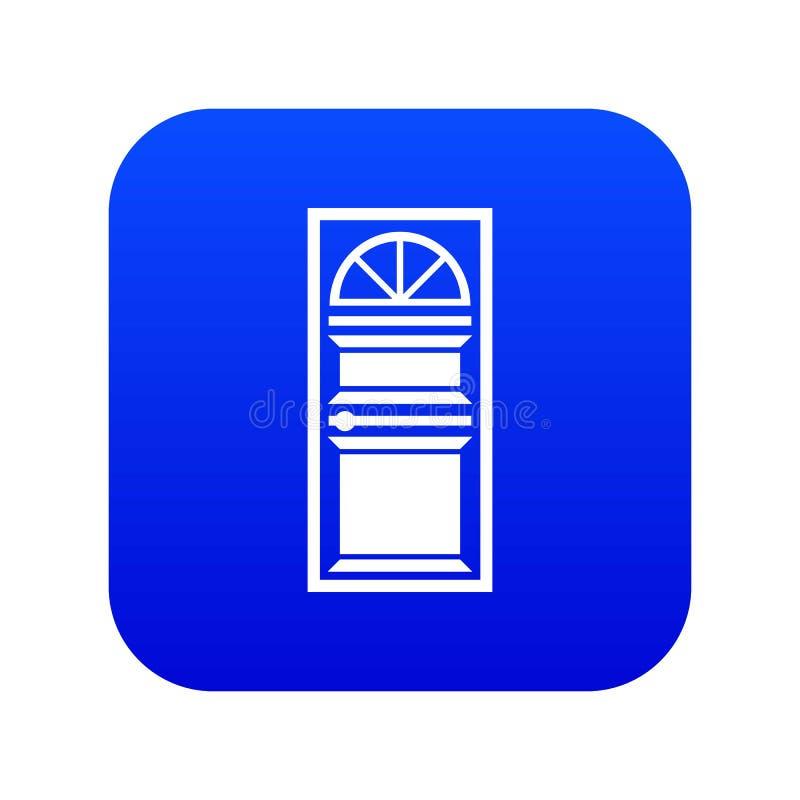 Porta com um azul digital arqueado do ícone de vidro ilustração royalty free