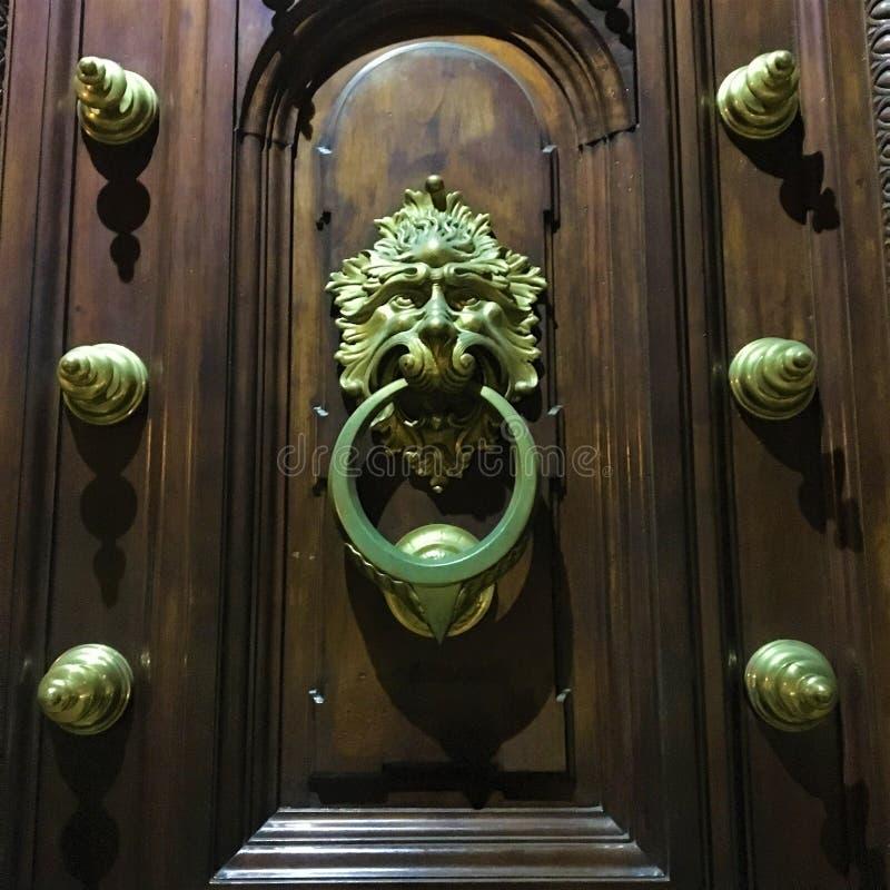 Porta d'annata antica, dettagli dorati, fronte del leone, storia e tempo fotografia stock libera da diritti