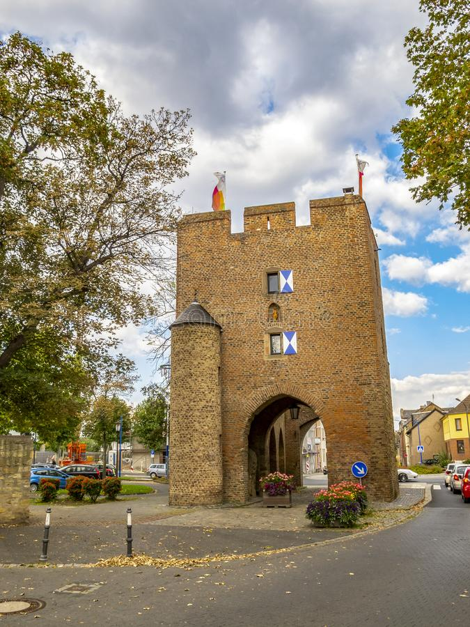 Porta da água de Colônia em Zuelpich, Reno-Westphalia norte, Alemanha imagem de stock