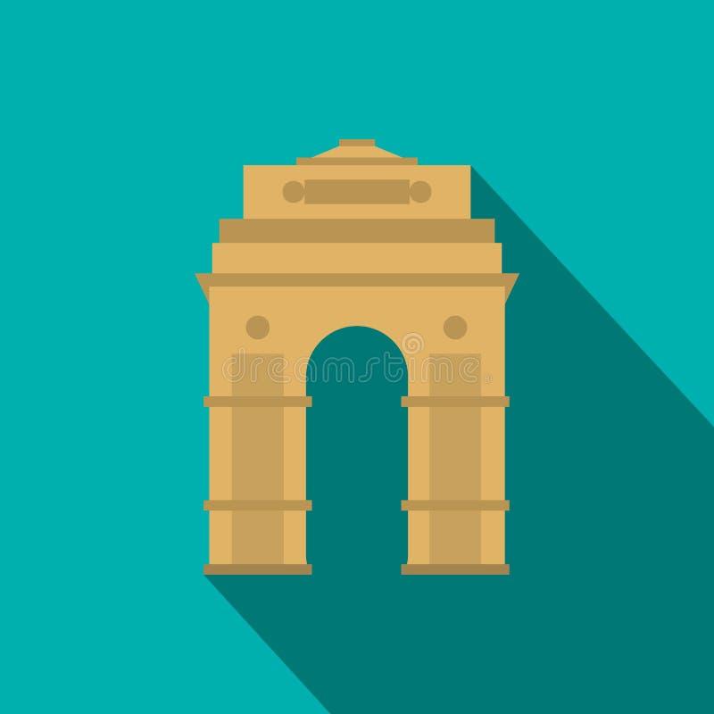 Porta da Índia, Nova Deli, ícone da Índia, estilo liso ilustração royalty free