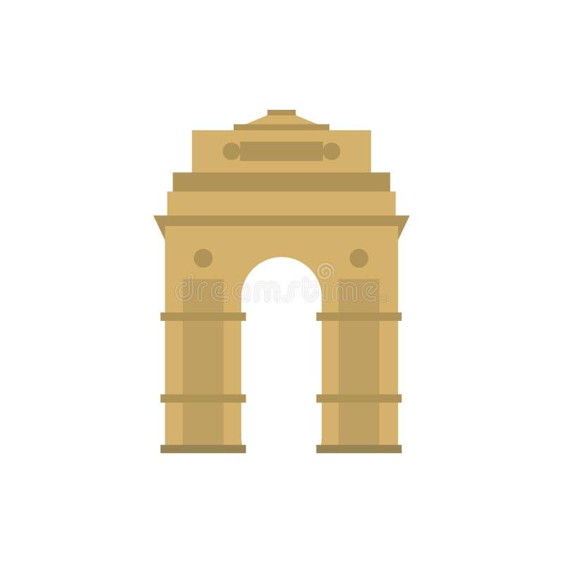 Porta da Índia, Nova Deli, ícone da Índia, estilo liso ilustração stock