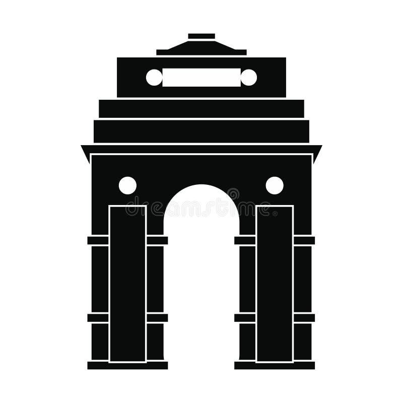 Porta da Índia, Nova Deli, ícone da Índia, estilo simples ilustração do vetor