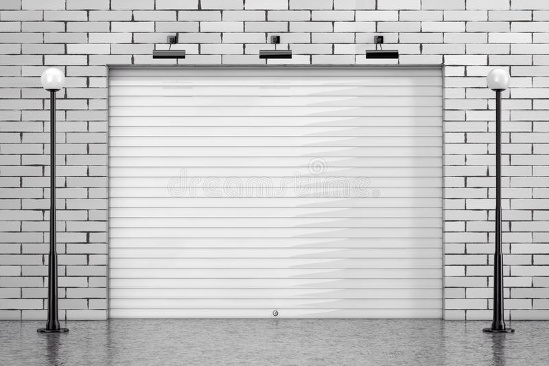 Porta da porta do obturador de rolamento da garagem com parede de tijolo e rua Ligh ilustração stock