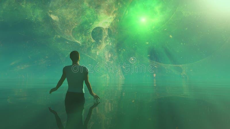 Porta da estrela, o portal a outros mundos, homem no mundo ideal ilustração stock