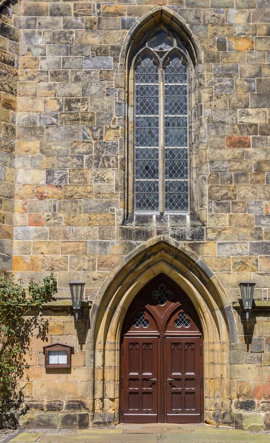 Porta da igreja reformada em Schuttorf imagens de stock royalty free