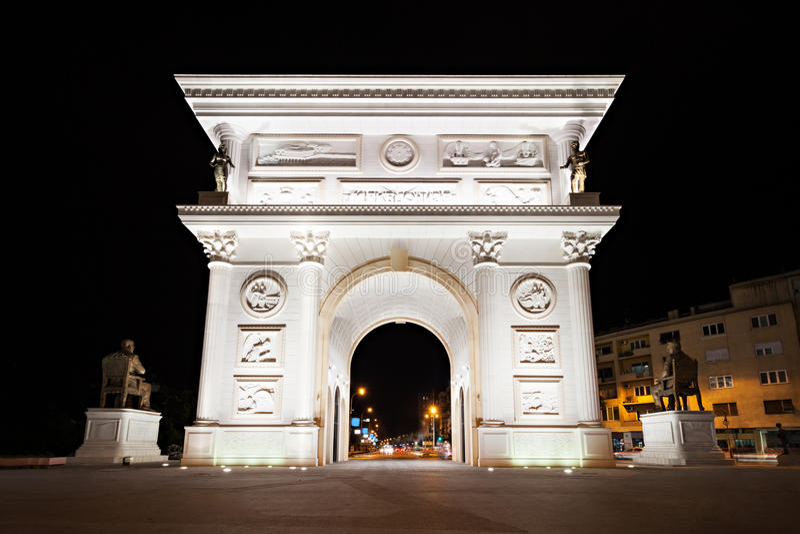 Porta da independência, Skopje fotografia de stock royalty free