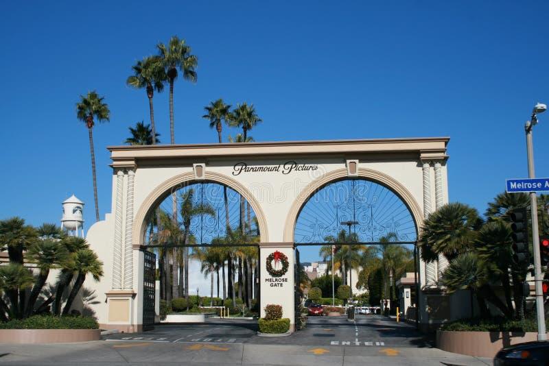 Porta da melrose do lote do estúdio de Paramount Pictures, Los Angeles fotografia de stock royalty free