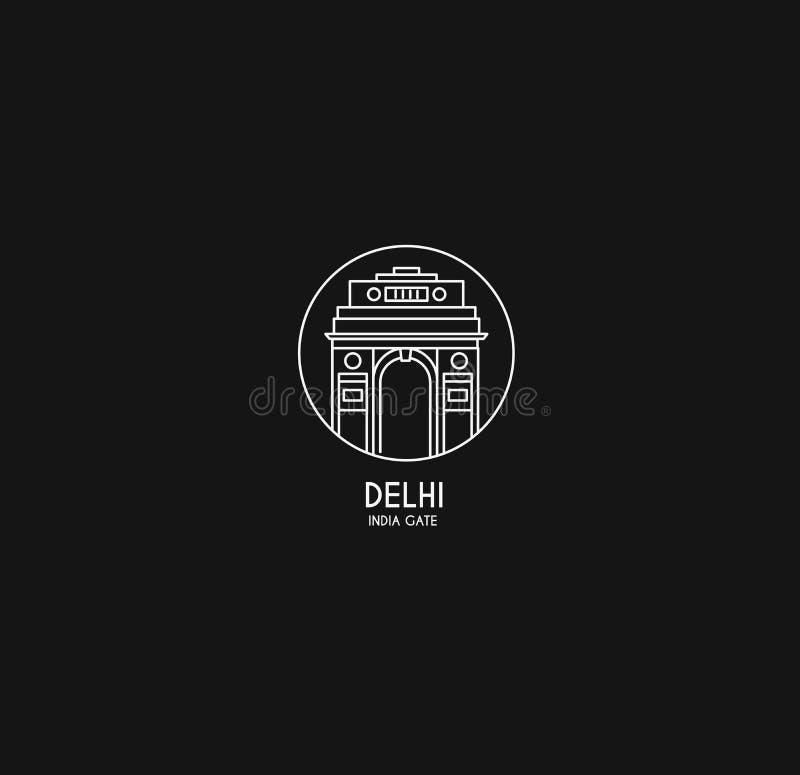 Porta da ?ndia em Nova Deli arco triunfal dos anos 20 e memorial de guerra ilustração stock