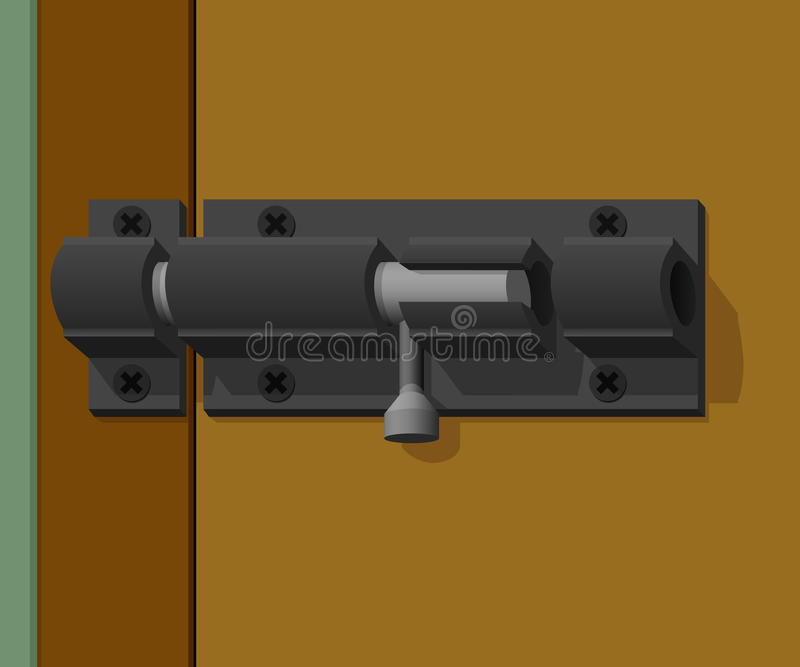 A porta da trava é fechado ilustração stock