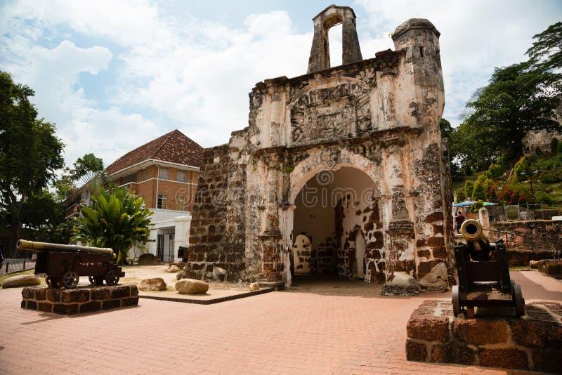 Porta de Сантьяго в Малакке, Малайзии стоковые фотографии rf
