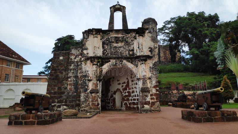 Porta de Сантьяго, остатки португальского крепость Famosa в Малакке стоковые фото