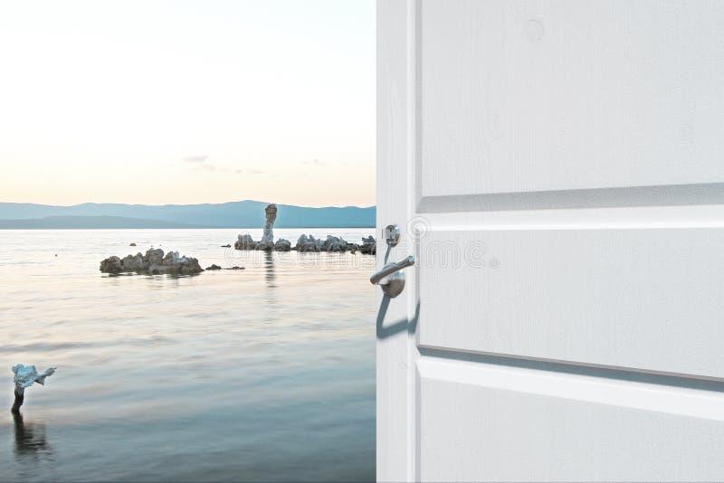Porta de abertura com opinião do lago ilustração royalty free