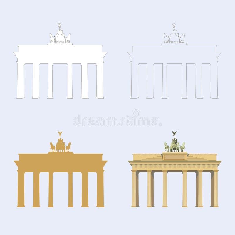 Porta de Brandemburgo em ícones lisos do vetor de Berlin Germany em coleção ajustada para o design web e as ilustrações ilustração stock