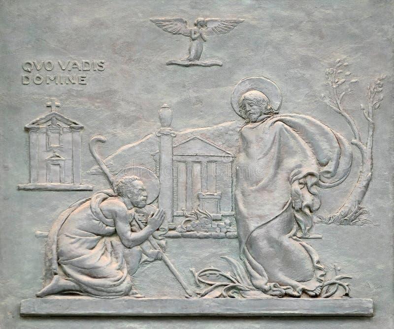Porta de bronze com a imagem da vida de St Peter: 'Domine, quo vadis? ' imagem de stock