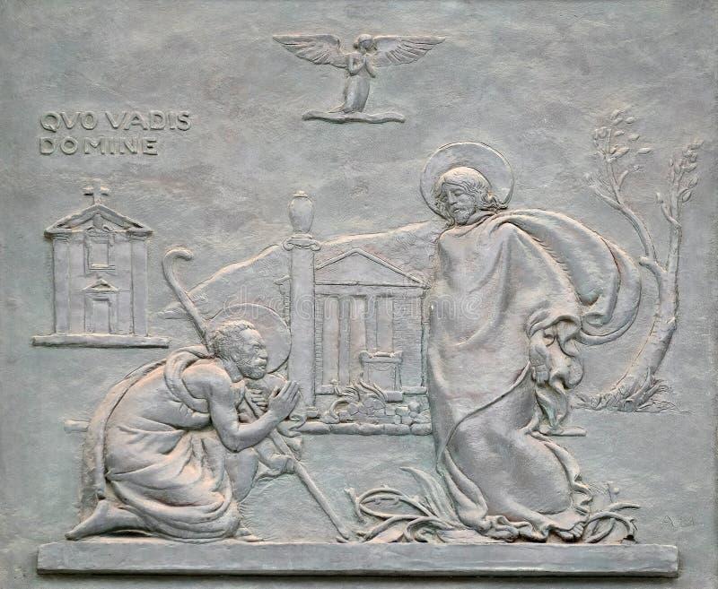Porta de bronze com a imagem da vida de St Peter: ` Domine, quo vadis? ` fotografia de stock royalty free