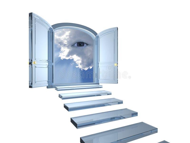 A porta de cristal grande abriu em um olho místico nas nuvens ilustração do vetor