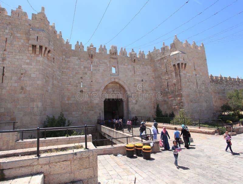 Porta de Damasco, cidade velha do Jerusalém fotografia de stock