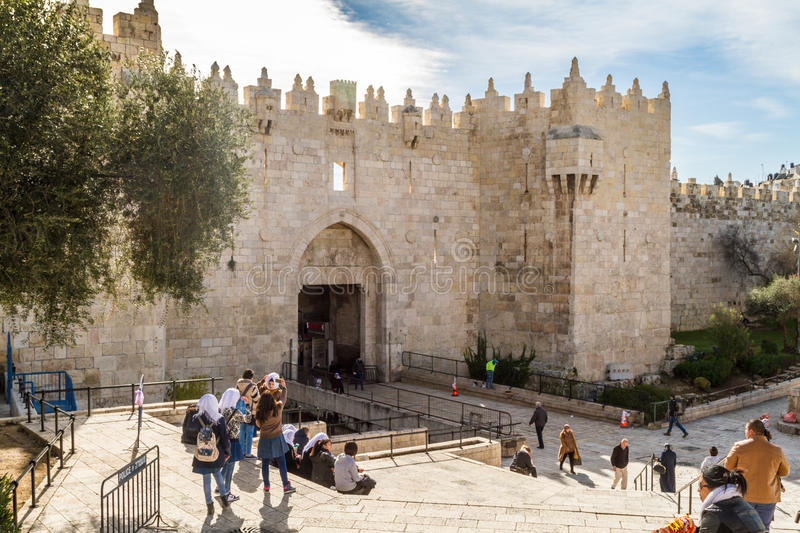 Porta de Damasco, Jerusalem foto de stock