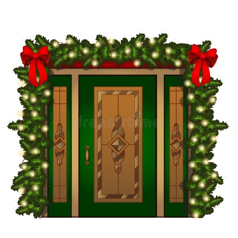 Porta de entrada brilhantemente decorada isolada no fundo branco Interior festivo da ideia Atributos do ano novo e ilustração stock