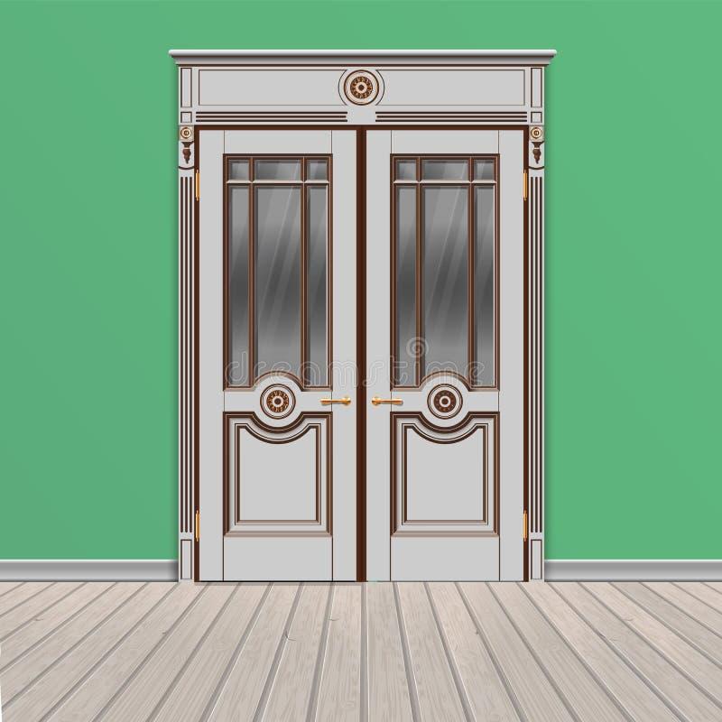 Porta de entrada dobro branca ilustração stock
