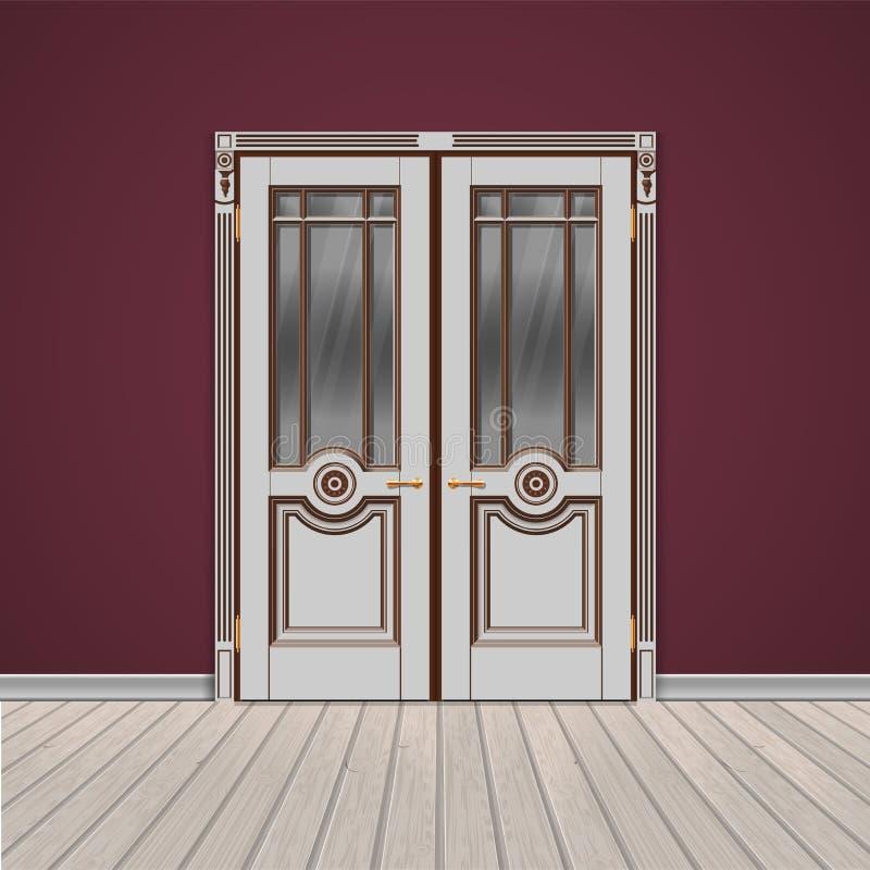 Porta de entrada dobro branca ilustração royalty free