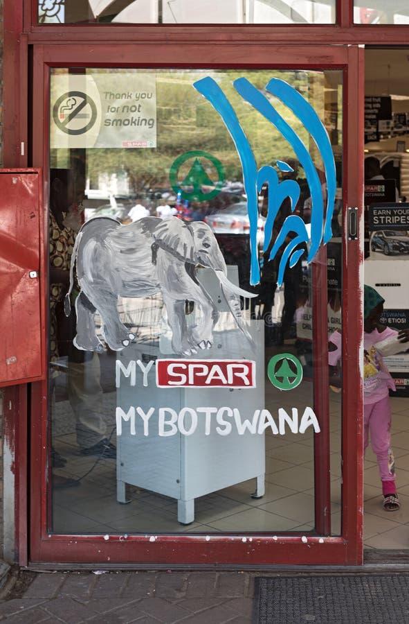 Porta de entrada de um supermercado no maun, botswana fotografia de stock royalty free