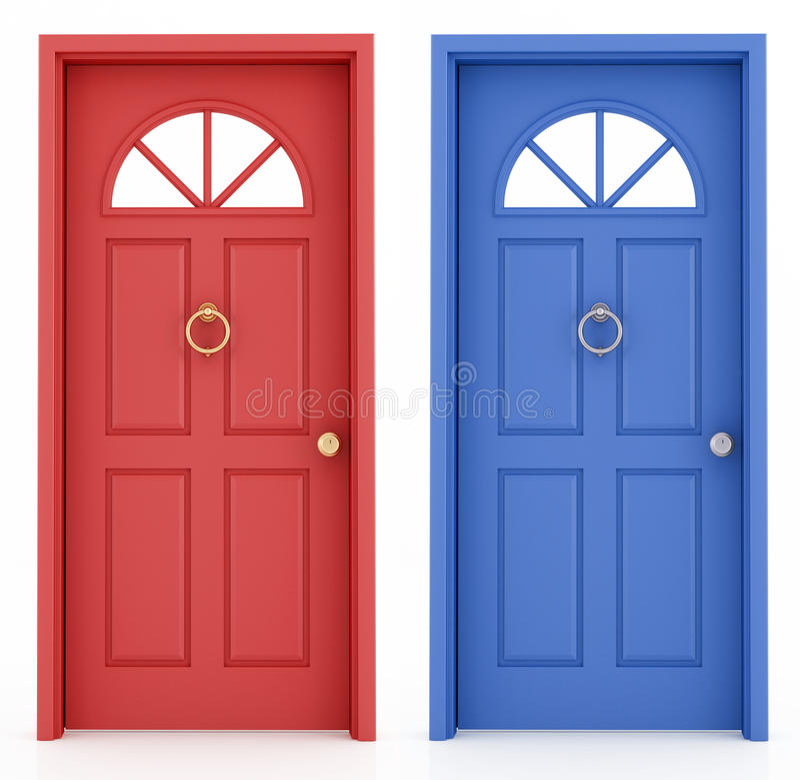 Porta de entrada vermelha e azul ilustração do vetor