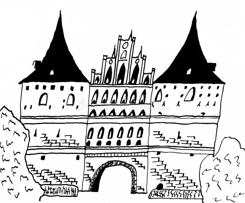 Porta de Holsten no ¼ beck de LÃ - gótico atrasado ilustração do vetor