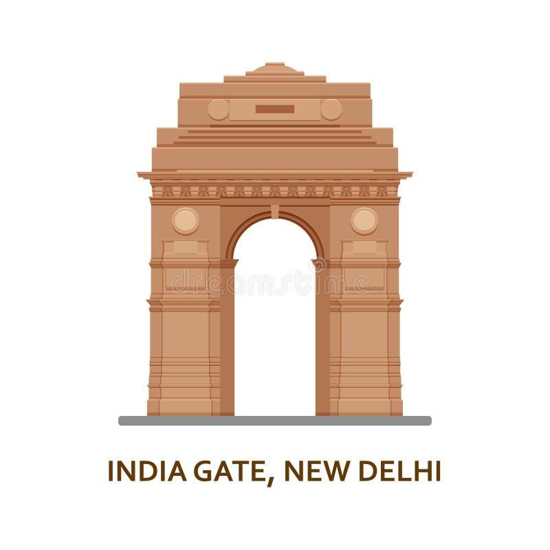 Porta de India, Nova Deli Vista a mais famosa indiana Construção arquitetónica Atrações turísticas famosas Ilustração do vetor ilustração do vetor