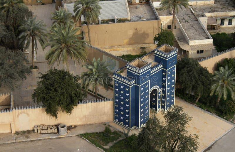 Porta de Ishtar na entrada de Babylon, Iraque imagens de stock royalty free