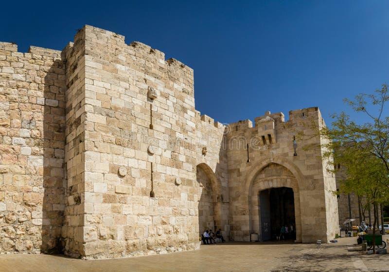 Porta de Jaffa na cidade velha do Jerusalém, Israel fotos de stock royalty free