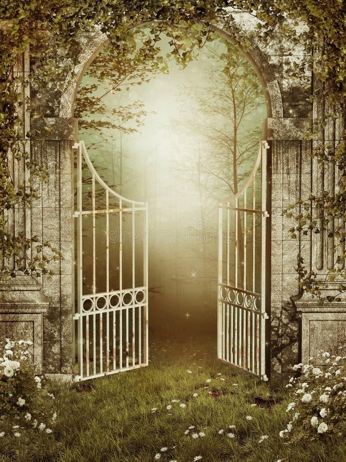Porta de jardim velha com hera ilustração royalty free