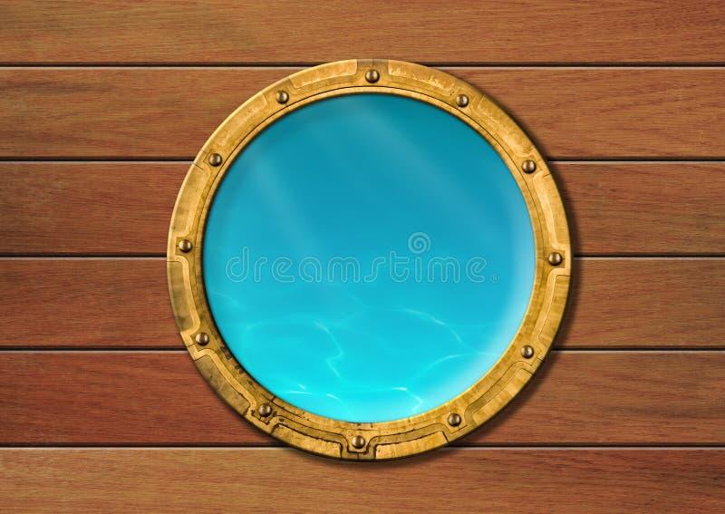 Porta de la nave con la visión subacuática imagen de archivo libre de regalías