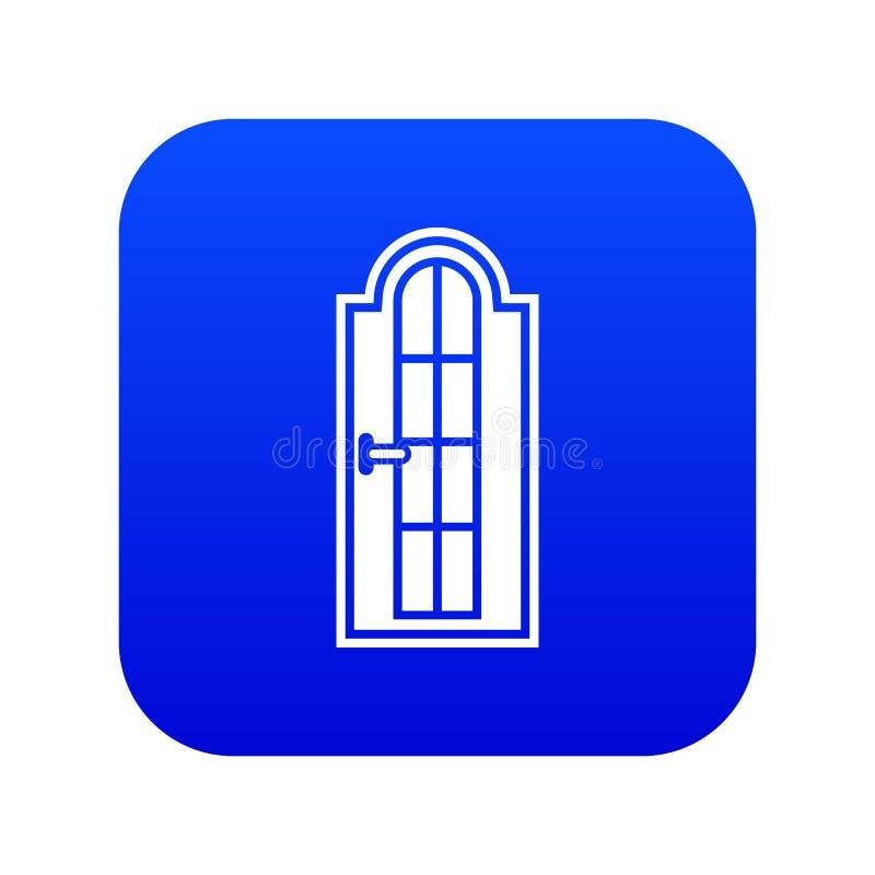 Porta de madeira arqueada com o azul digital do ícone de vidro ilustração stock